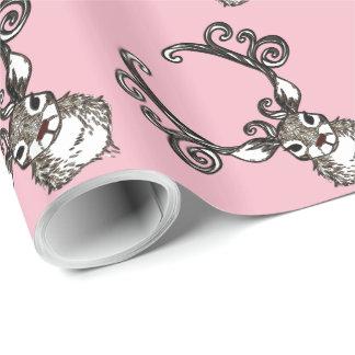 Wrapping Paper Cute Reindeer deer cottage pink