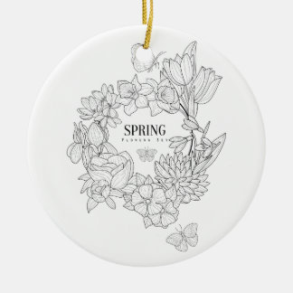 Wrath Of Spring Flowers Hand Drawn Ceramic Ornament