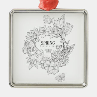 Wrath Of Spring Flowers Hand Drawn Metal Ornament