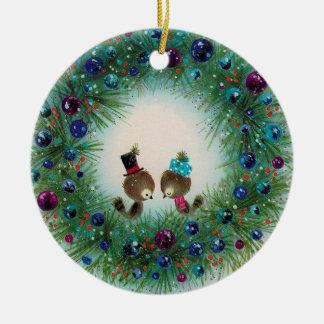 Wreath and Bird Christmas Ornament