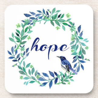 Wreath And Bird Design Motivational Hope Quote Coasters