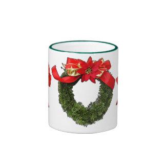 wreath and bows holiday mug