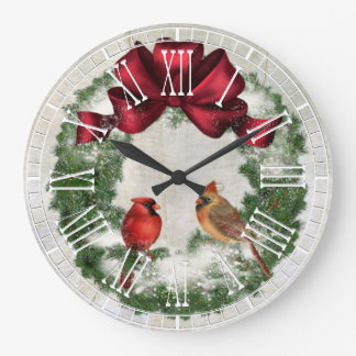 Wreath and Cardinals Vintage Plaster Look Wall Clock