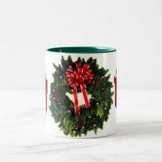 wreath and gifts holiday mug