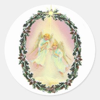 WREATH ANGELS by SHARON SHARPE Round Sticker