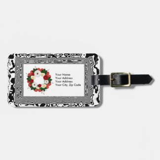 """Wreath """"Big Heart"""" Red/White Flowers Luggage Tag"""