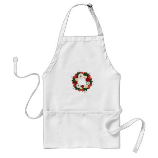 "Wreath ""Big Hearts"" Red/White Flowers Apron"