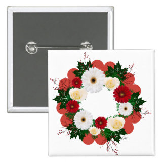 """Wreath """"Big Hearts"""" Red/White Flowers Button"""