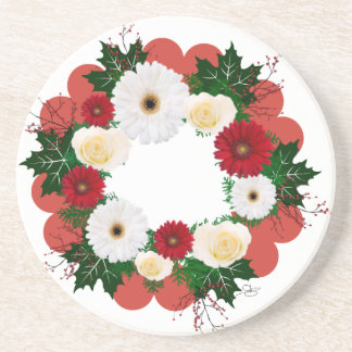 """Wreath """"Big Hearts"""" Red/White Flowers Coasters"""