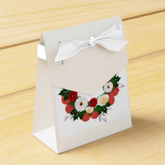 """Wreath """"Big Hearts"""" Red/White Flowers Favor Box Wedding Favour Box"""