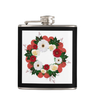 "Wreath ""Big Hearts"" Red/White Flowers Flask"