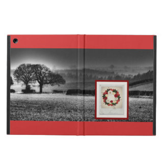 """Wreath """"Big Hearts"""" Red/White Flowers iPad Case"""