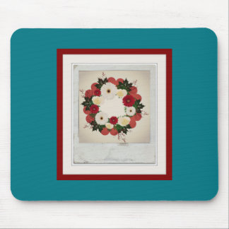 """Wreath """"Big Hearts"""" Red/White Flowers Mouse Pad"""
