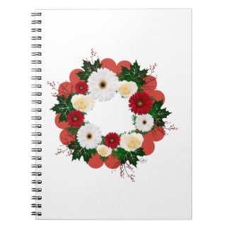 "Wreath ""Big Hearts"" Red/White Flowers Notebook"