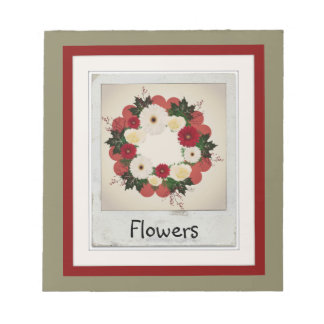 """Wreath """"Big Hearts"""" Red/White Flowers Notepad"""
