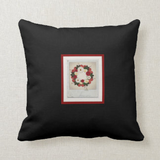 """Wreath """"Big Hearts"""" Red/White Flowers Pillow Cushions"""