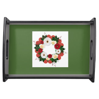 """Wreath """"Big Hearts"""" Red/White Flowers Serving Tray"""