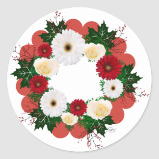"Wreath ""Big Hearts"" Red/White Flowers Stickers"
