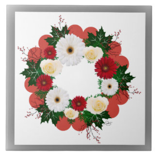 """Wreath """"Big Hearts"""" Red/White Flowers Trivet Large Square Tile"""