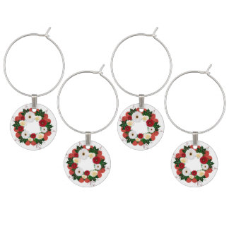 "Wreath ""Big Hearts"" Red/White Flowers Wine Charms"
