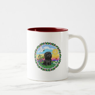 Wreath - Black Shih Tzu Two-Tone Coffee Mug