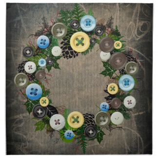 """Wreath """"Blooming Button"""" Pine Cone Buttons Napkins"""
