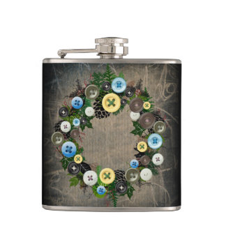 """Wreath """"Blooming Buttons"""" Pine Cone Button Flask"""