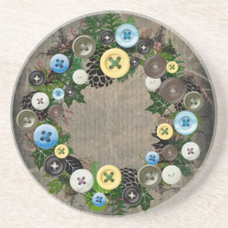 """Wreath """"Blooming Buttons"""" Pine Cones Coasters"""