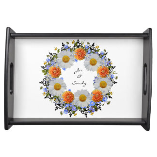Wreath Daisy Flowers Floral Vector Serving Trays