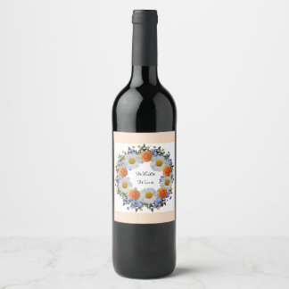 Wreath Daisy Flowers Floral Vector Wine Labels
