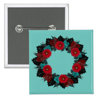"""Wreath """"Daisy Heart"""" Red Flowers Hearts Button"""