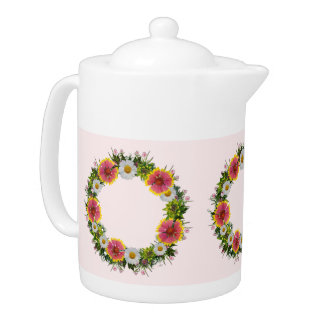 "Wreath ""Daisy Rose"" Flowers Floral Teapot"