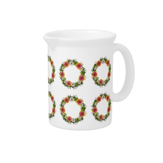 "Wreath ""Daisy Rose"" Flowers Porcelain Pitcher"
