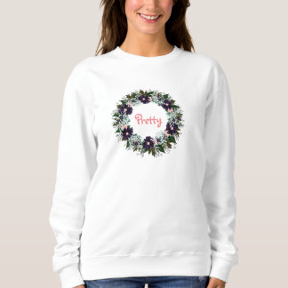"Wreath ""Dark Purple"" Pretty Flowers Floral T-Shirt"