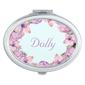 Wreath Dolly Peppermint Flowers Floral Vector Pink Compact Mirror