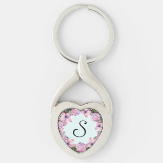 Wreath Dolly Peppermint Flowers Floral Vector Pink Key Ring
