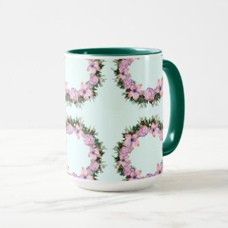 Wreath Dolly Peppermint Flowers Floral Vector Pink Mug