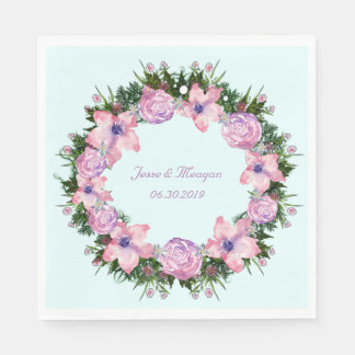Wreath Dolly Peppermint Flowers Floral Vector Pink Paper Napkin