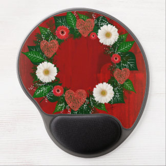 """Wreath """"Doodly Hearts"""" Red/White Flowers Mouse Pad Gel Mouse Pad"""