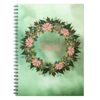 "Wreath ""Enjoy"" Flowers Floral Notebook"