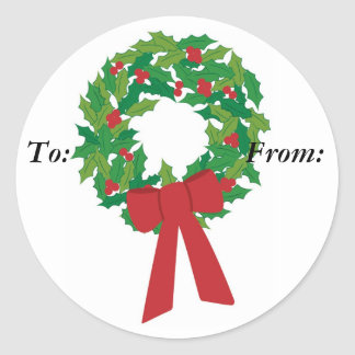 wreath, gift labels round stickers