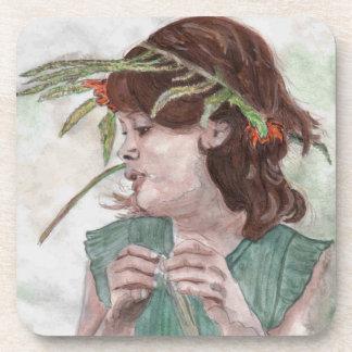 Wreath Girl by Theresa Hartman Coaster