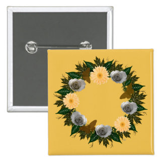 """Wreath """"Gold Butterfly"""" Peach Daisies Roses Button"""