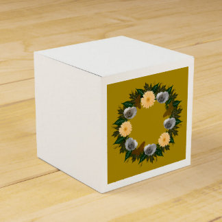 "Wreath ""Gold Butterfly"" Peach Flowers Favor Box Favour Box"