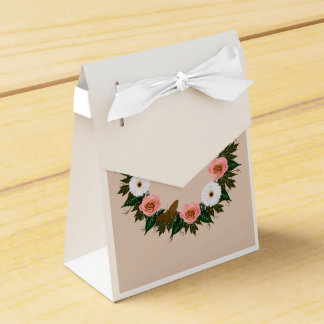"Wreath ""Gold Butterfly"" Pink Roses Favor Box Wedding Favour Box"