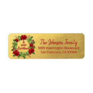 Wreath Gold Holiday Christmas Return Address Return Address Label