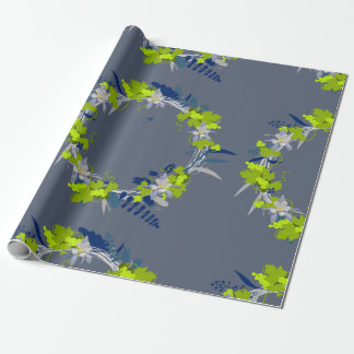 """Wreath """"Grape Love"""" Flowers Leaves Wrapping Paper"""