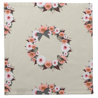"""Wreath """"Gray Bow"""" Flowers Floral Napkins"""