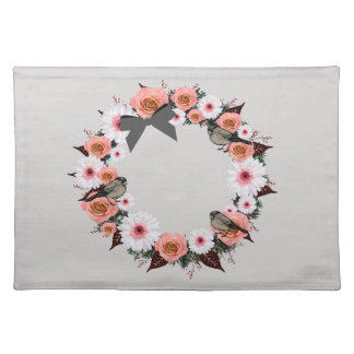 """Wreath """"Gray Bow"""" Flowers Floral Placemat"""