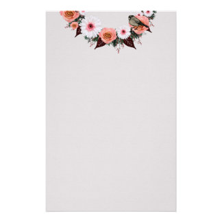"""Wreath """"Gray Bow"""" Flowers Floral Stationery"""